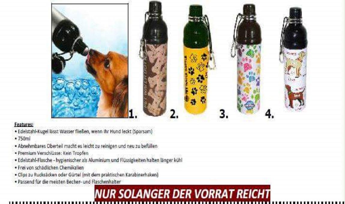 4 verschiedene Trinkfaschen für je 9,99 Euro.