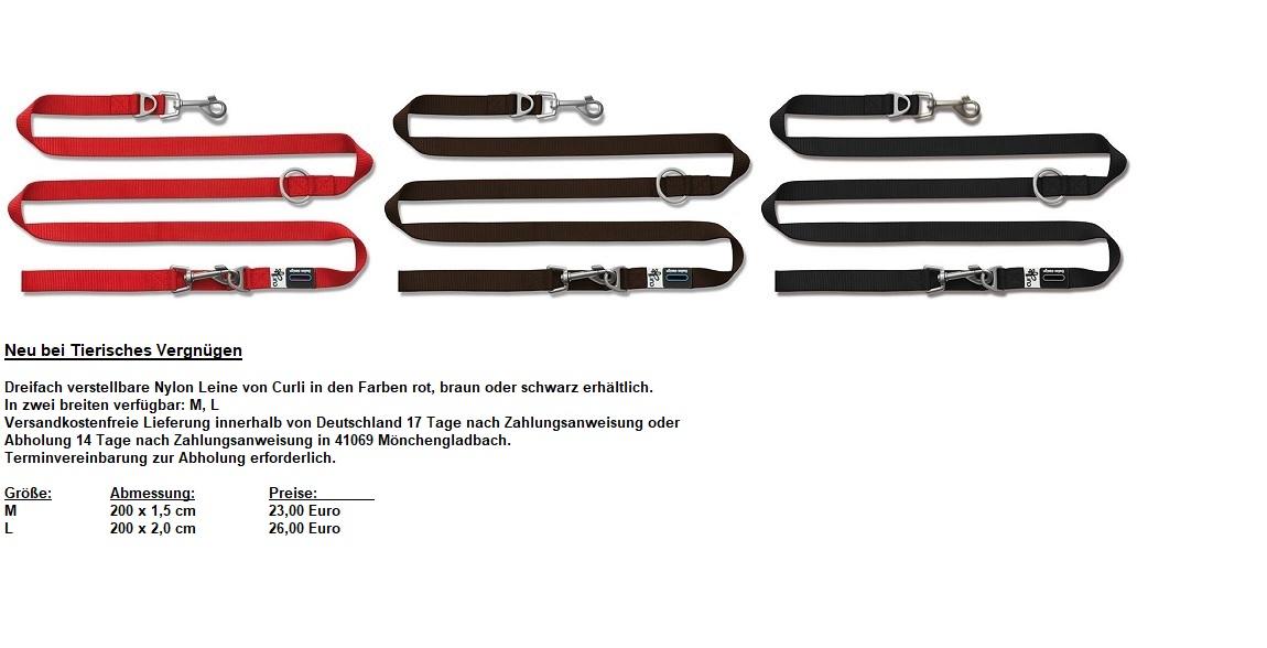 Dreifach verstellbare Nylon Leine von Curli